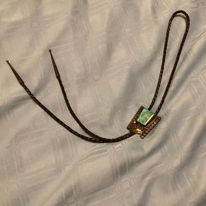 """VINTAGE """"LEE"""" STERLING & TURQUOISE BOLO TIE"""